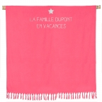 Serviette de plage double rose framboise